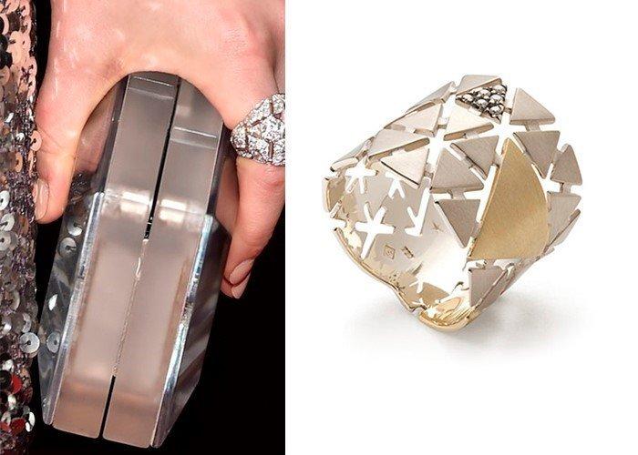 Кольцо в стиле геометрия с бриллиантами