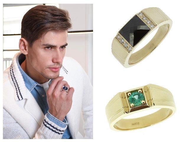 Мужские кольца в желтом золоте