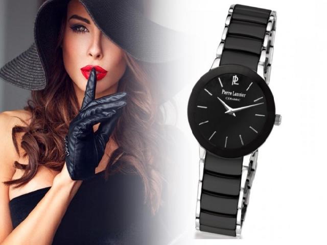 Черные женские часы с круглым циферблатом