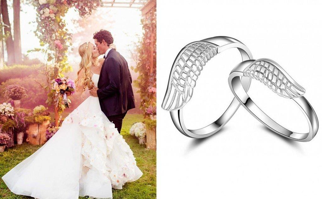 Обручальное кольцо из белого золота с крыльями