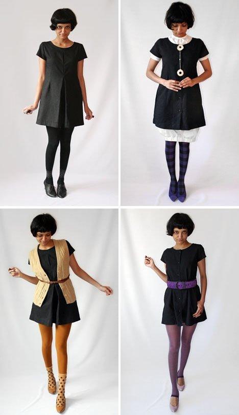 Черное платье в разных женских образах