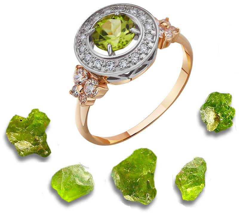 Женские кольца с хризолитом