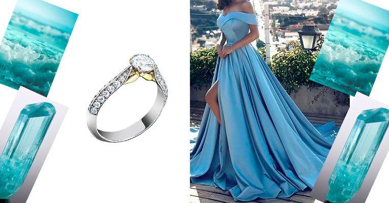 Женское кольцо с аквамарином