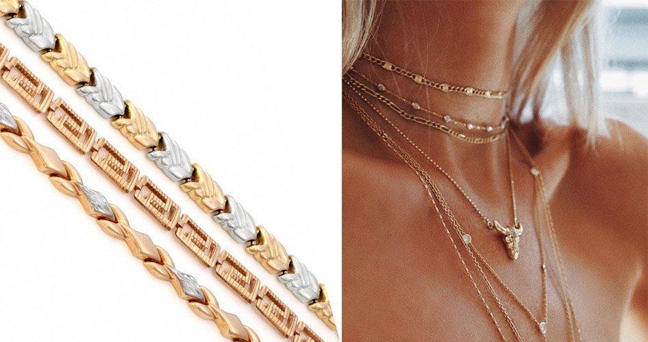 Стильные золотые цепочки на шею