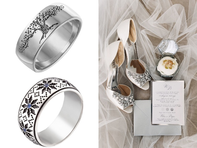 Серебряные обручальные кольца с чернением