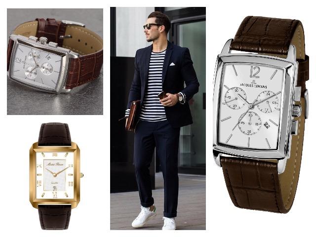 Мужские часы с прямоугольным циферблатом