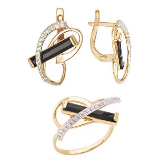 Комплект серьги и кольцо с черным камнем в золоте