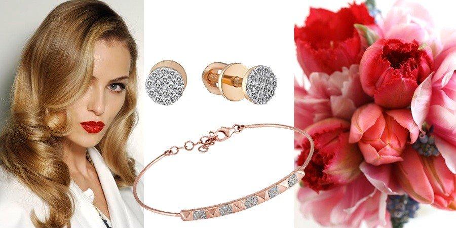 Серьги и браслет из золота с бриллиантами