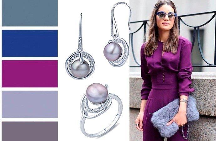 Серебренные украшения с жемчугом в сочетании цветов одежды