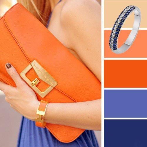 Оранжевый и синий тон - удачное сочетание