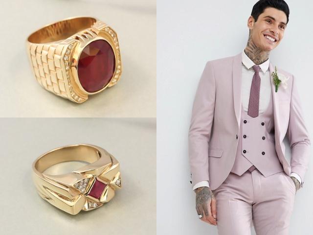 Золотые мужские украшения с рубинами