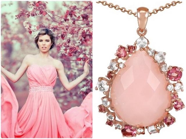 Кулон с розовым кварцем