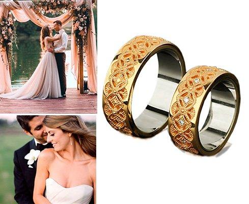 Парные обручальные кольца из золота