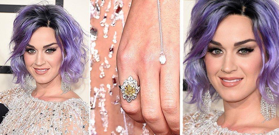 Кэти Перри с оригинальным бриллиантовым кольцом