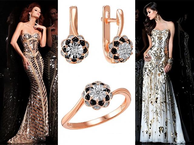 Комплекты золотых украшений с бриллиантами