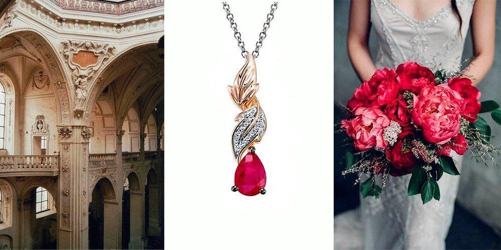 Золотой кулон с рубином