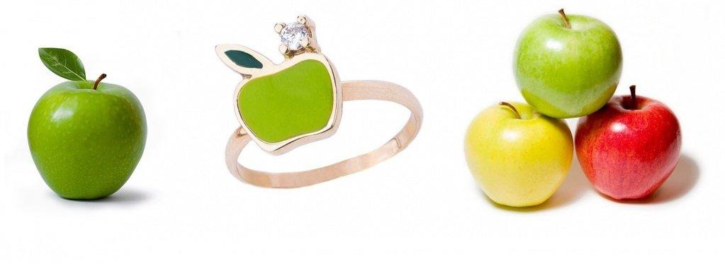 Золотое кольцо в виде яблока