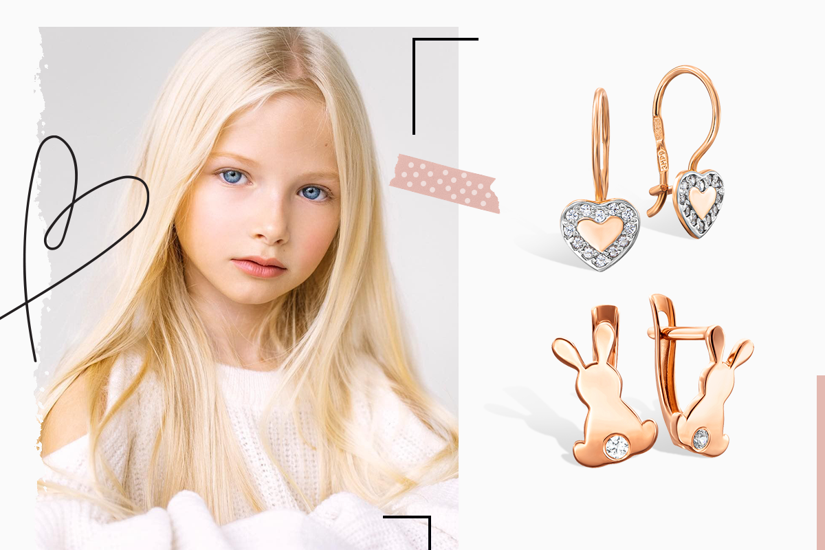 Детски золотые сережки