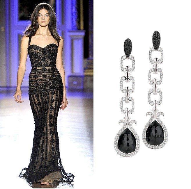 Серьги с ониксом для черного выпускного платья