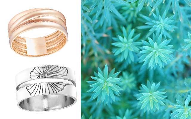 Гладкие кольца из золота и серебра