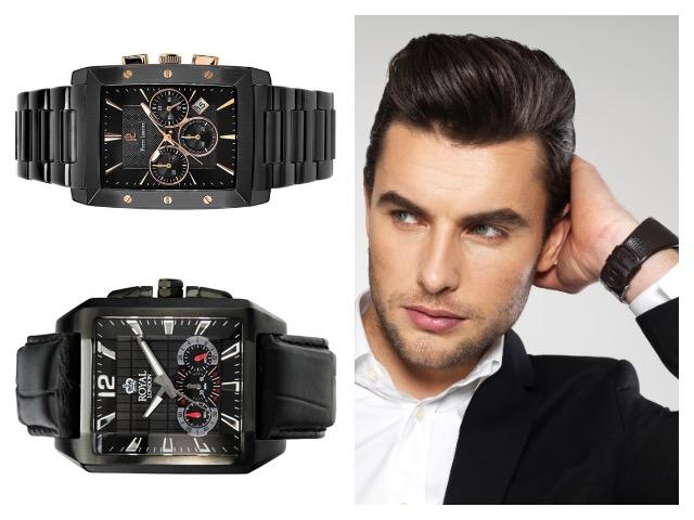 Черные мужские часы прямоугольные
