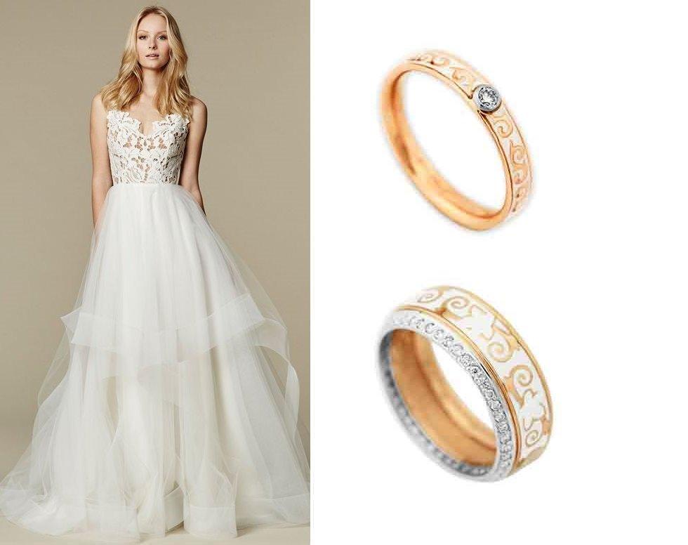 Женские обручальные кольца с эмалью