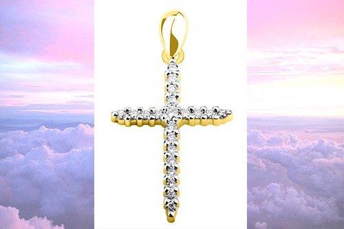Декоративный крестик из белого золота