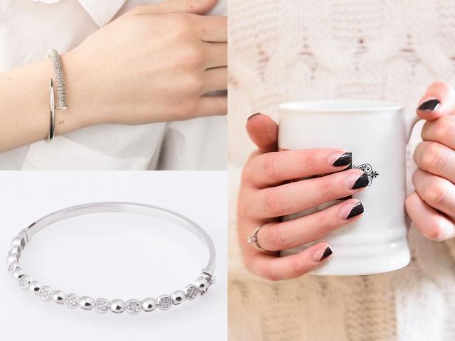 Золотые в белом цвете жесткие браслеты на руку