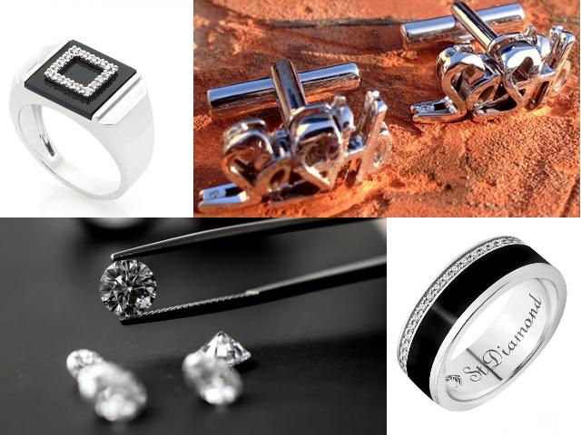 Украшения из белого золота с бриллиантами для мужчин