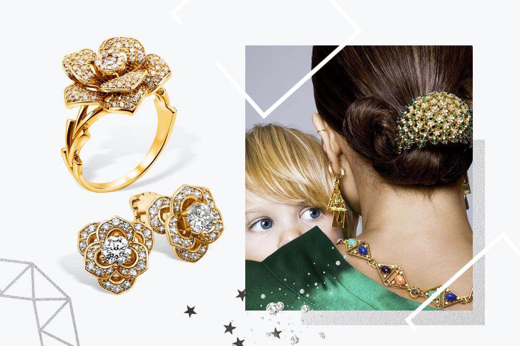 Золотые украшения с бриллиантами цветы