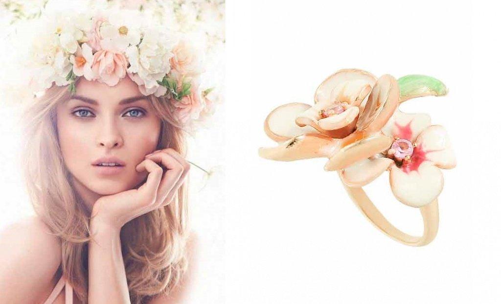 Золотое кольцо в виде цветка