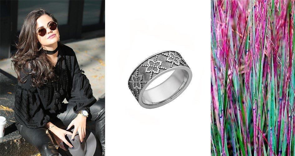 Серебряное кольцо орнамент