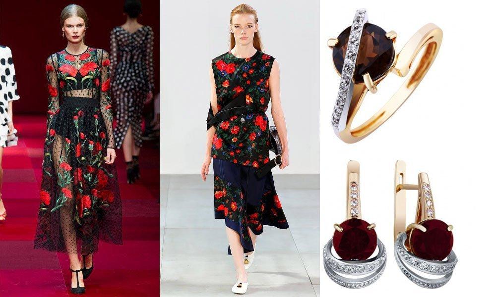 Цветочный принт в платьях и украшениях тренд лета 2015 года