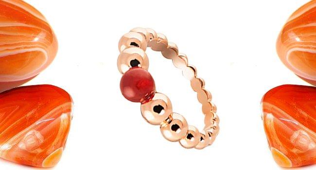 Женское кольцо с родолитом