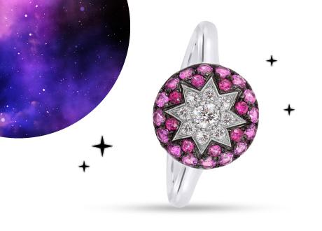 Кольцо из белого золота Счастливая звезда с бриллиантами, рубинами и розовыми сапфирами