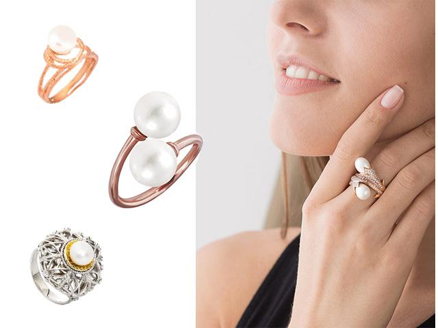 Позолоченное кольцо с жемчугом