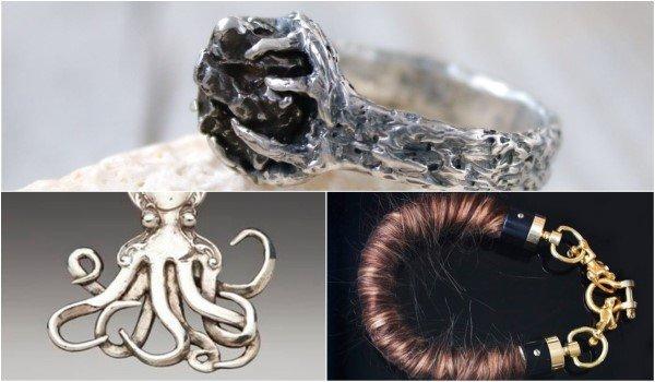 Украшения из вилок, волос, метеорита