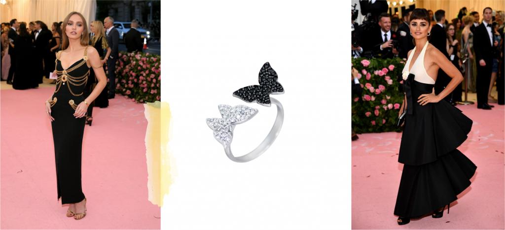Кольцо с двумя бабочками