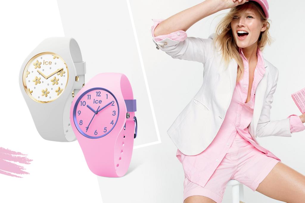 Белые и розовые часы