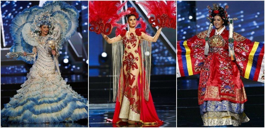 Дефиле в стилизованных национальных нарядах на конкурсе Мисс Вселенная