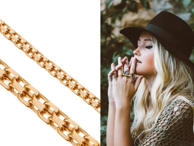 Якорная цепь двойного плетения золотая, цепь Ланкастер