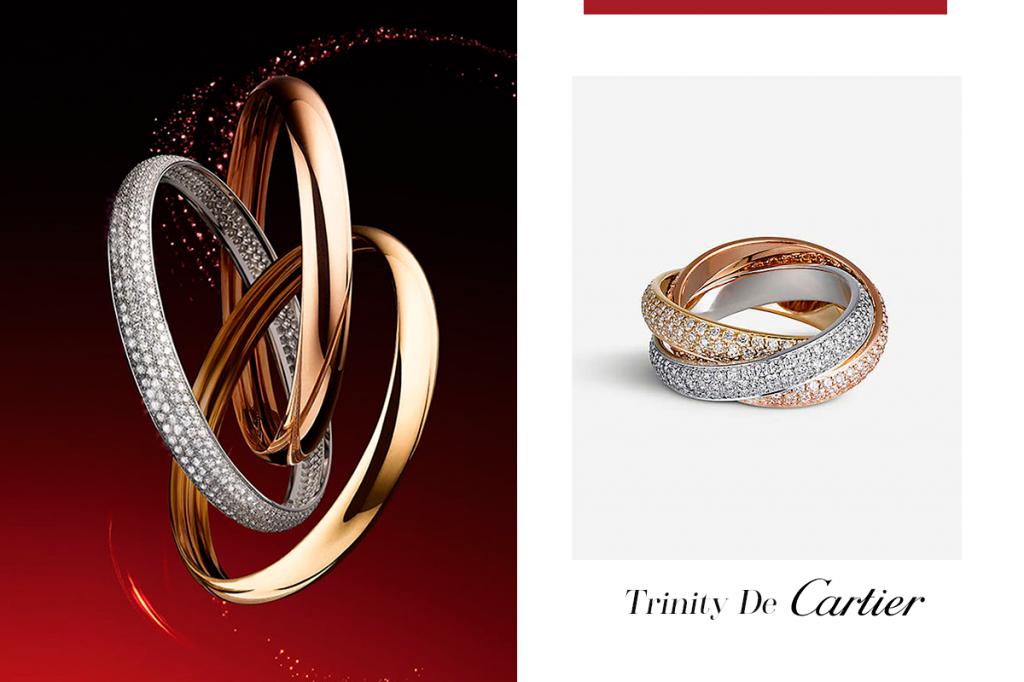 Тринити с бриллиантами кольцо