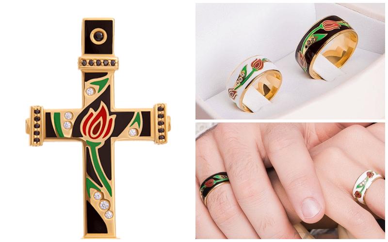 Мужской крестик в комплекте с кольцом
