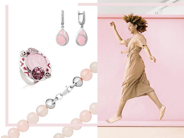 Розовый кварц в серебре
