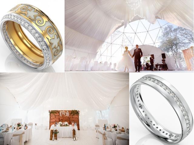 Обручальные кольца с бриллиантами - американка