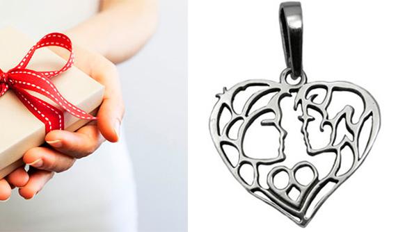 Серебряный кулон в форме сердечка