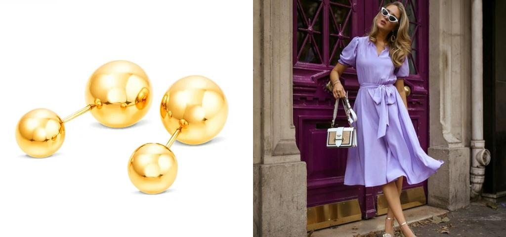 Серьги шарики из желтого золота