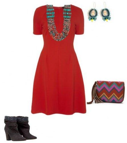 Этнический стиль с красным платьем