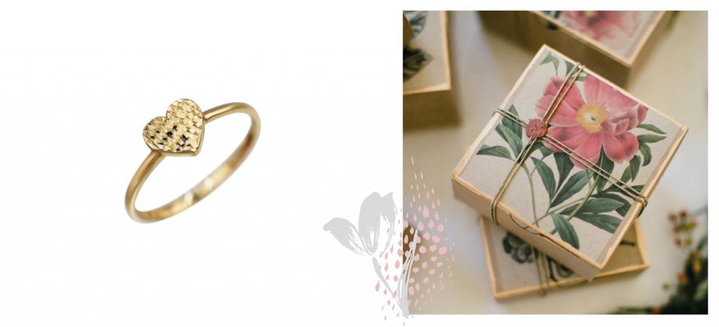 Золотое кольцо-сердечко