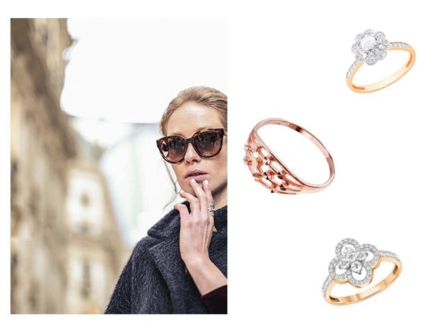 Позолоченные кольца с камнем